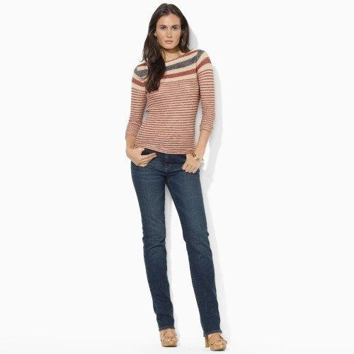 $119 Ralph Lauren Jeans Co Red Tan Striped Linen Sweater Top