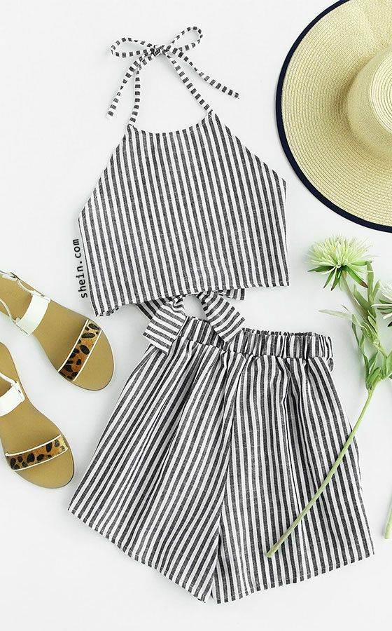 f3ae0f997 Striped Bow Open Back And Shorts Set | Spotlights | Fashion, Summer ...