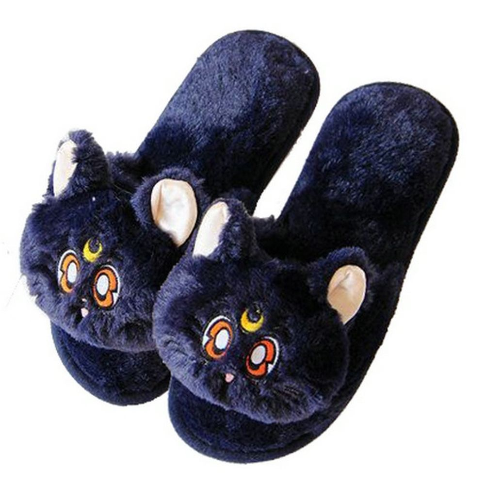 7ba6b13895d7e Cartoon Black Cat Slippers Fish Mouth Warm Soft Plush Home Shoes ...
