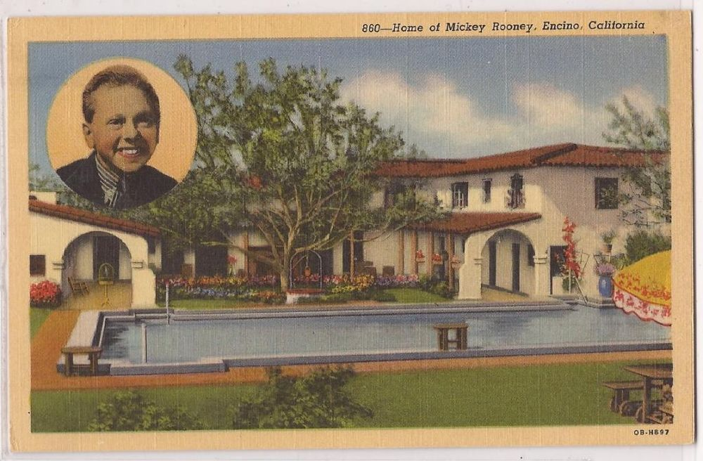 Vintage Hollywood Homes 1940s mickey rooney postcard star's homes encino ca pool view w