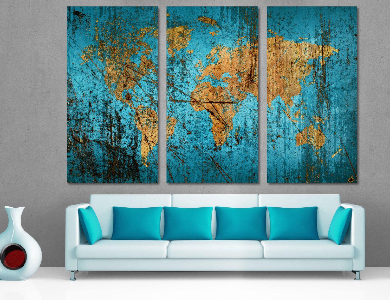 stunning office interior design wall art | Munsell Blue World Map Canvas Print 3 Panel Split ...