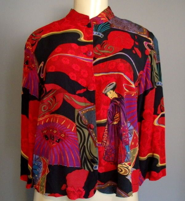 CITRON XS Blouse Black Red Asian Mandarin Collar 3/4 Sleeve Button Up Top  #CitronSantaMonica #Blouse #Career