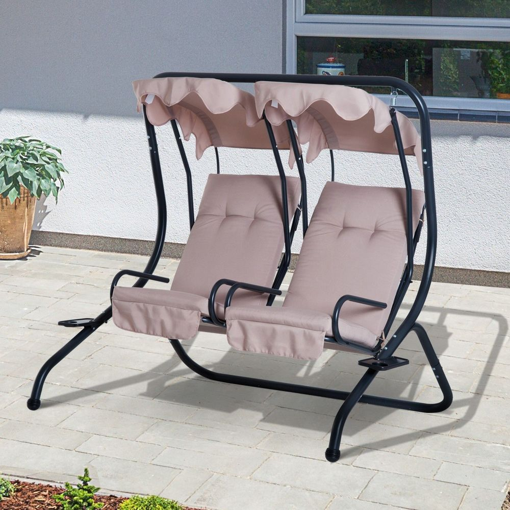 seater garden swing chair steel frame beige colour canopy outdoor