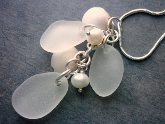 Sea Glass Necklace  Sea Shell Pearls Wedding by TheMysticMermaid