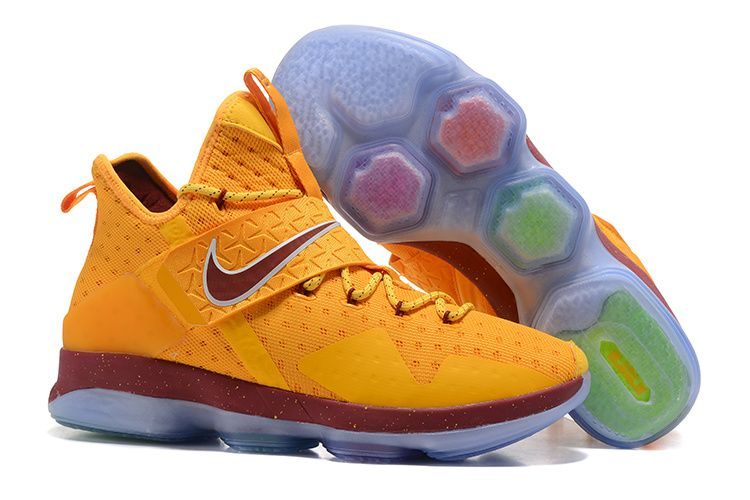 97d35c39473 Cheap NBA Lebron 14 Basketball Shoes Yellow Red on www.nbakd10.com ...
