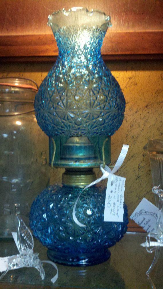 Vintage Blue Glass Hurricane Lamp, Blue Glass Hurricane Lamp