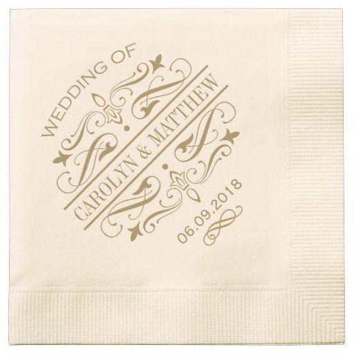 wedding monogram napkins antique gold flourish