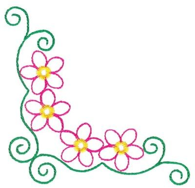 SimpleCornerBordersClipArt outlined floral borders