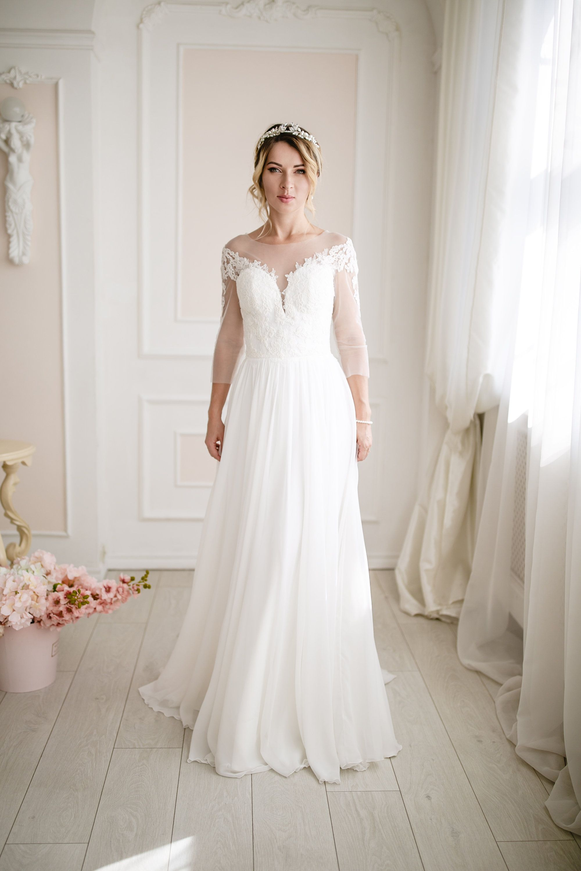 Plain Wedding Dress Simple Wedding Dress Chiffon Skirt Bridal Etsy Plain Wedding Dress Boho Style Wedding Dress Wedding Dress Chiffon [ 3000 x 2000 Pixel ]