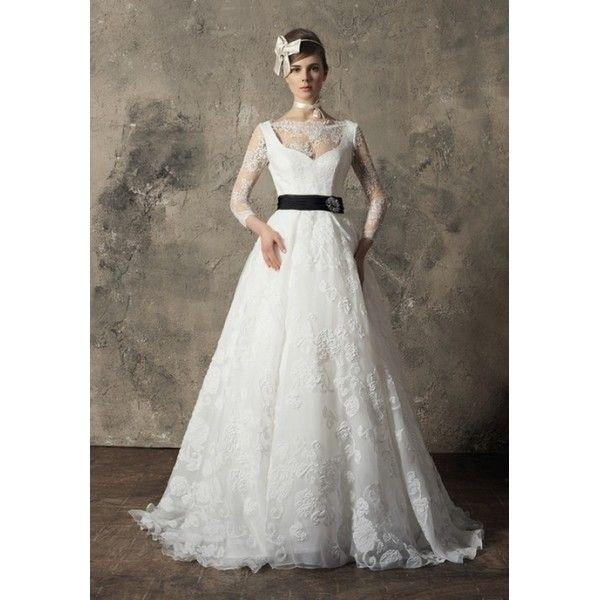 A-line Lace Bateau neckline Long Sleeve Full Length Wedding Dress - Star Bridal Apparel, #lace, #aline, #wedding, #dress, #bridal, #winter, #sweetheart