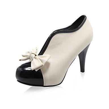 pu couro superior ankle boot de salto alto com sapatos da moda bowknot – BRL R$ 49,97