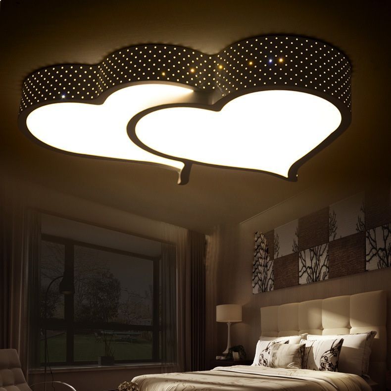 Creative Heart Shaped Led Ceiling Light Romantic Bedroom Light
