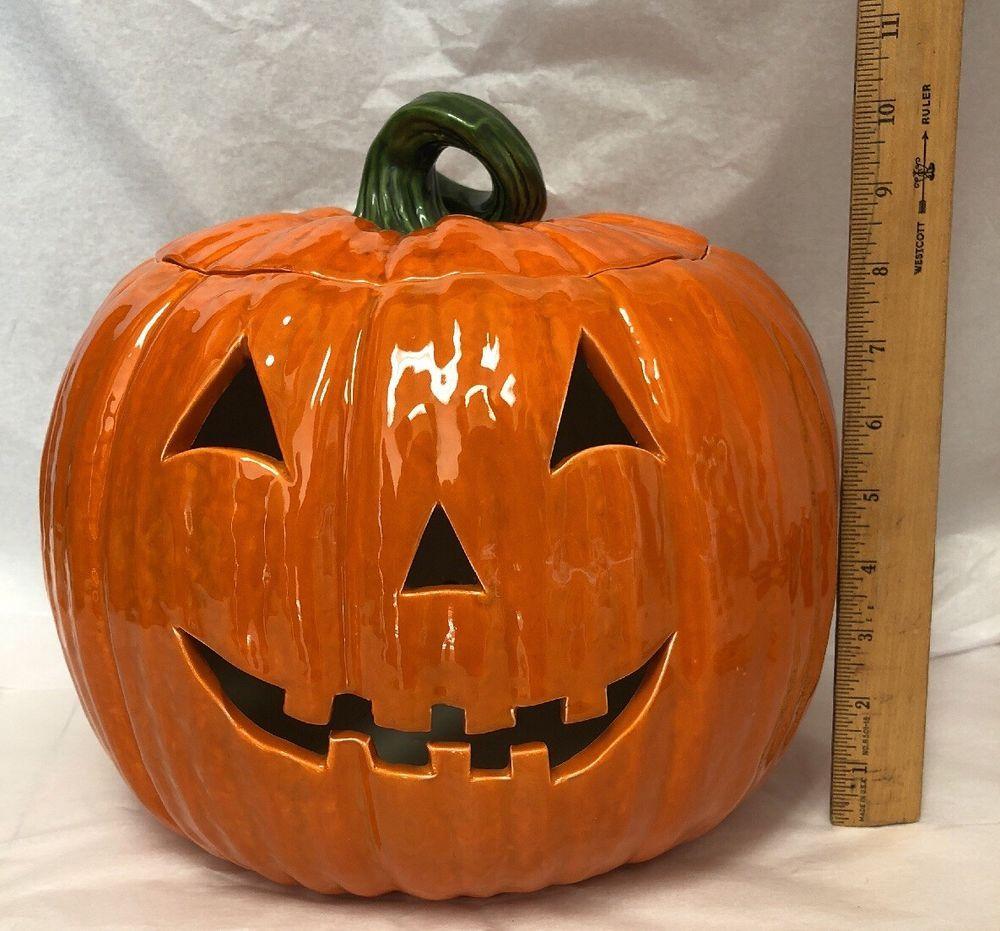 Vtg Atlantic Mold Ceramic Pumpkin Jack O Lantern Halloween Made To Be Lighted Jack O Lantern Pumpkin Jack Halloween Make