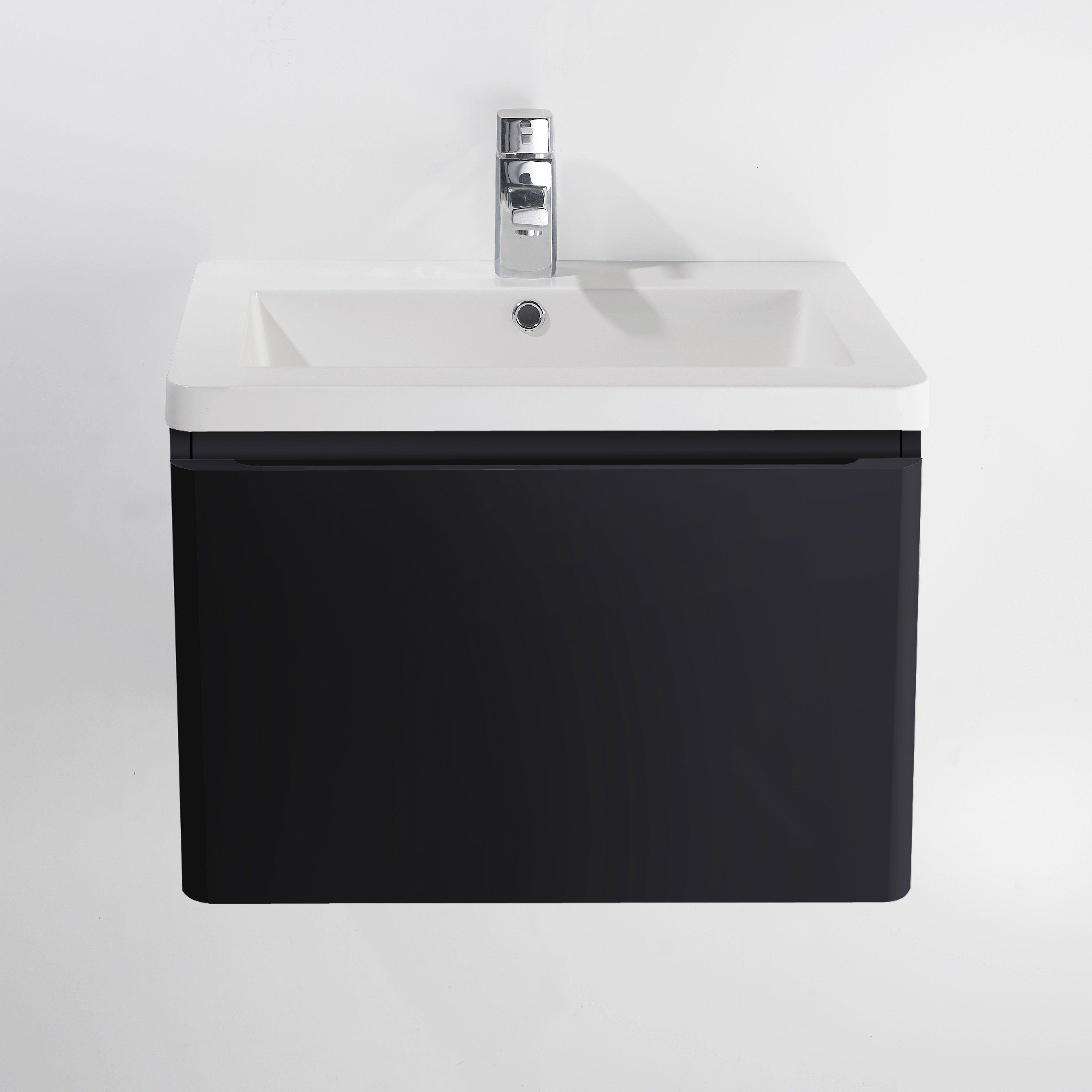 alaska led wall hung black gloss basin vanity unit 600mm