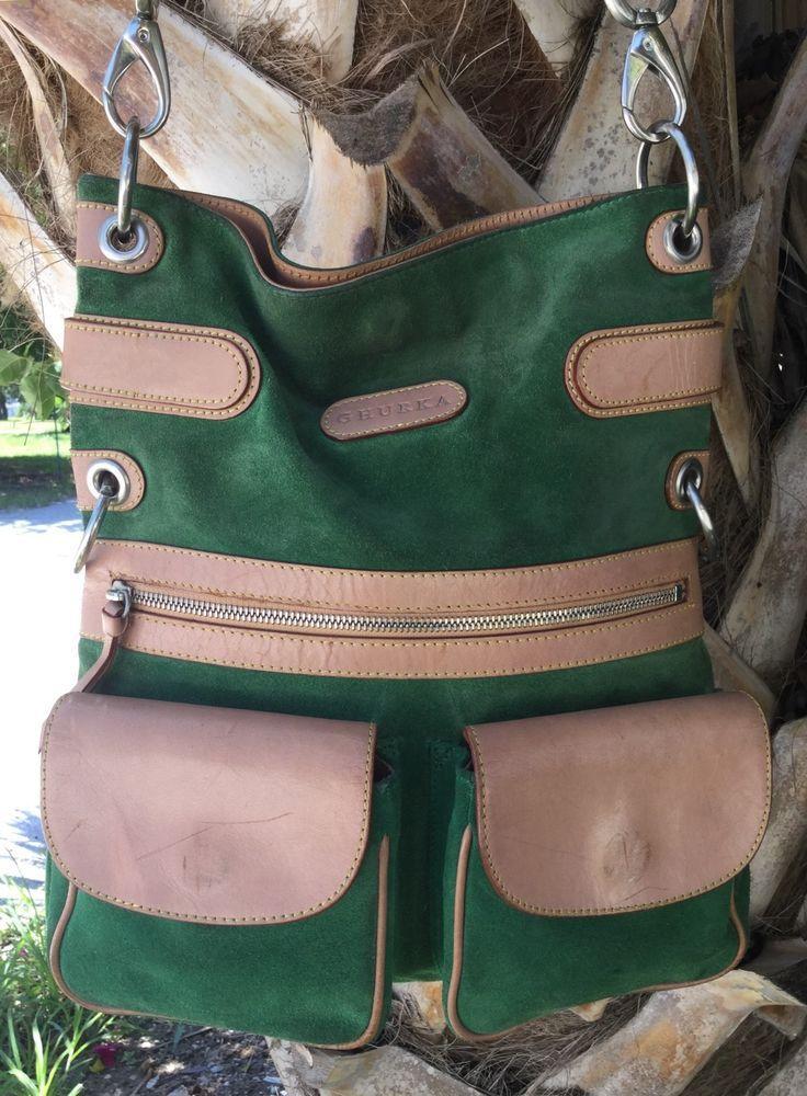 GHURKA Green Suede Tan Leather Crossbody Messenger Bag in Clothing, Shoes & Accessories, Women's Handbags & Bags, Handbags & Purses | eBay