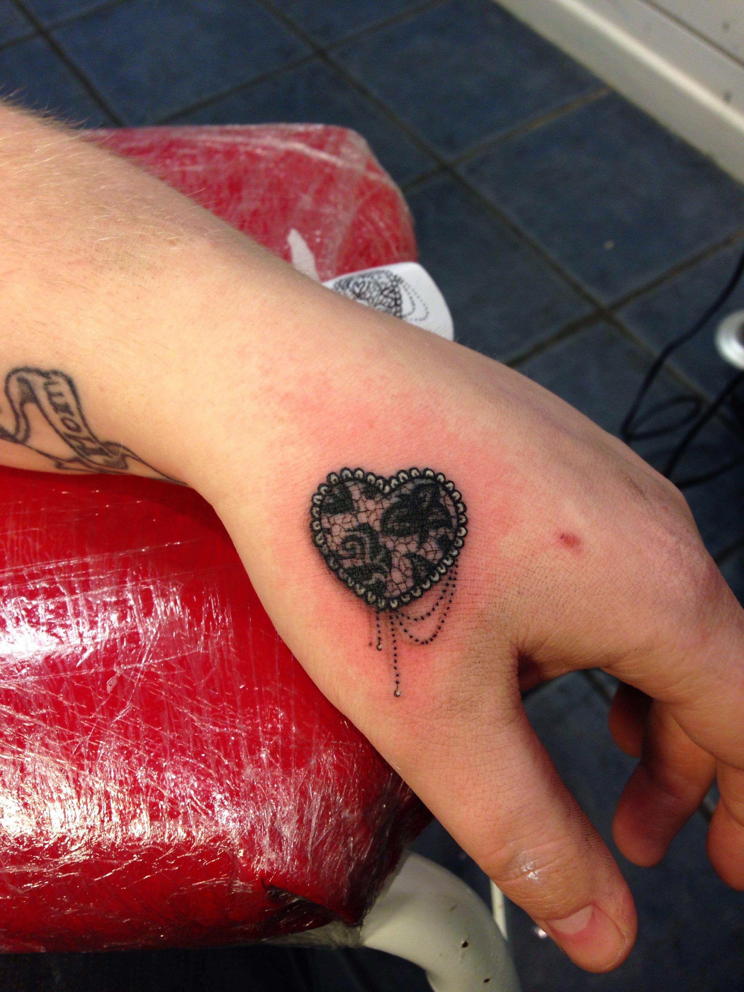 Lace heart tattoo by Dan Ball Lace tattoo design, Lace