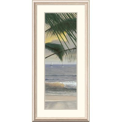 """Global Gallery 'Coastal Paradiso Panel I' by Diane Romanello Framed Painting Print Size: 44"""" H x 20"""" W x 1.5"""" D"""
