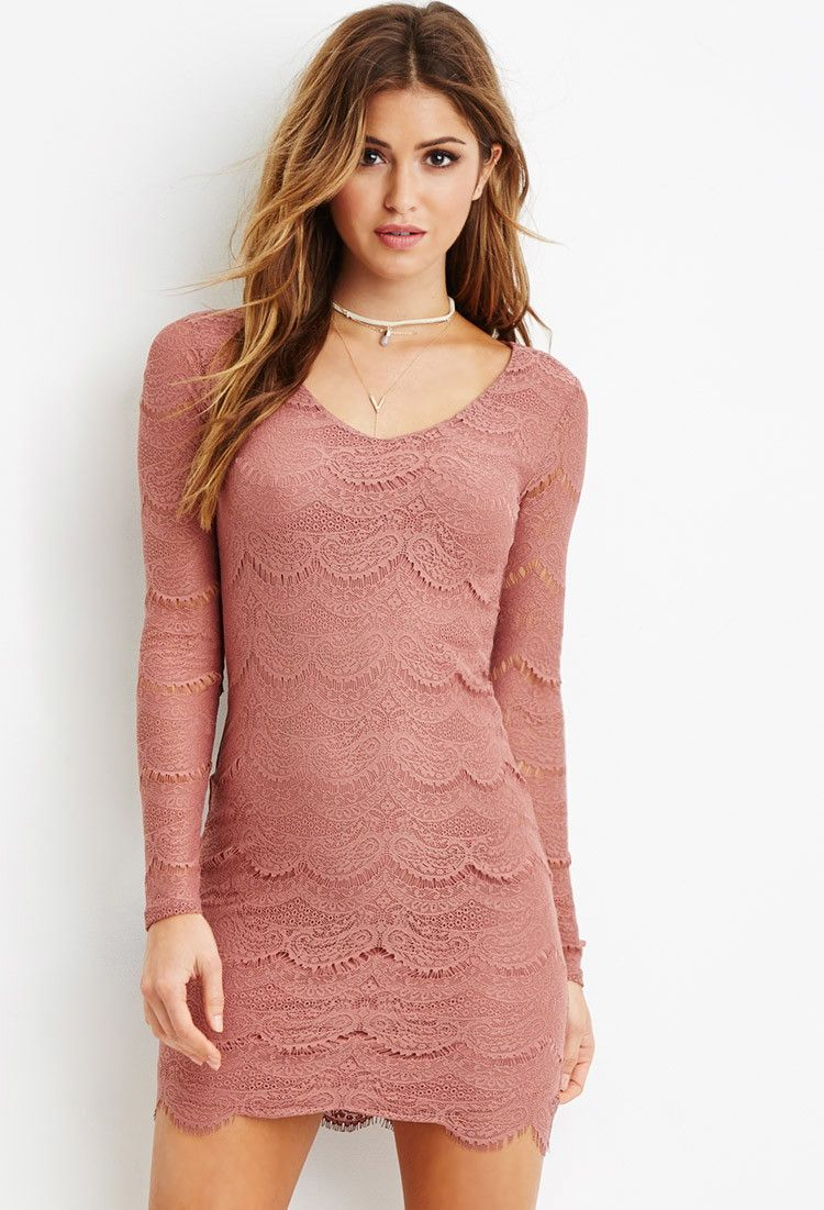 Eyelash Lace Bodycon Dress - Dresses - 2000179304 - Forever 21 EU ...