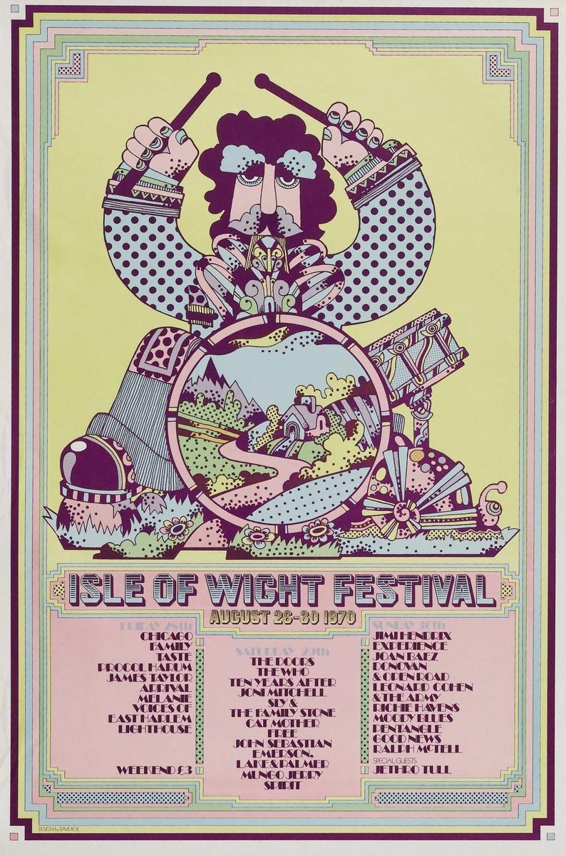 Isle Of Wight Festival Concert Poster 1970 Etsy Isla De Wight Cartel De Concierto Festivales