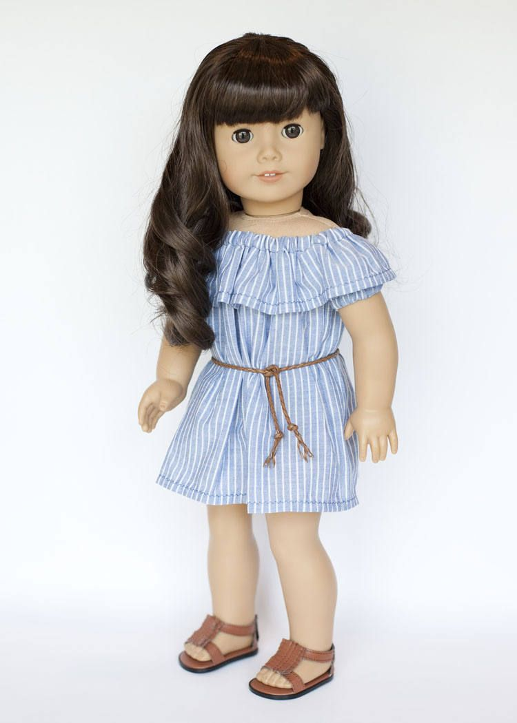 American Girl doll sized off the shoulder dress with belt - blue and ...