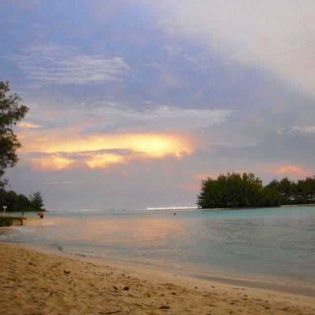 Cook Islands Rarotonga Beach: Sunset At Muri Beach, Rarotonga, Cook Island