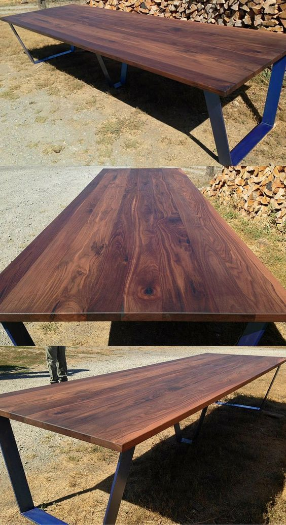 Black Walnut Table With Custom Metal Base Walnut Table Wood