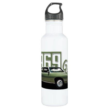 1969 Pontiac GTO Green Classic Muscle Car Water Bottle