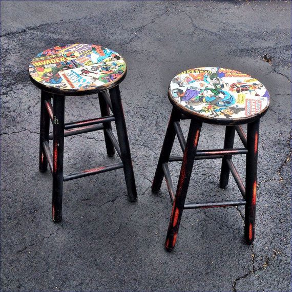 Upcycled Comic Book Bar Stools Featuring Marvel and DC Comics