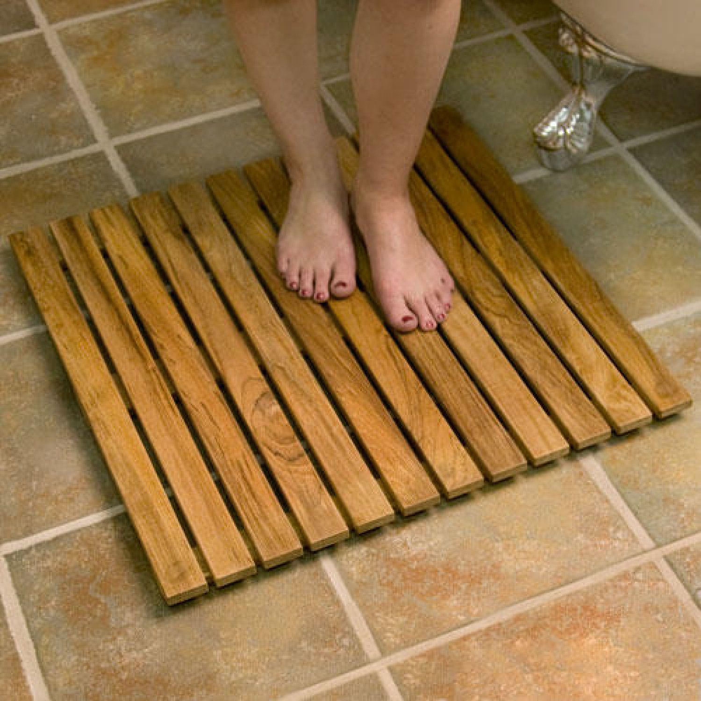 24 Square Teak Shower Mat Wood Bath Mats Bathroom Accessories