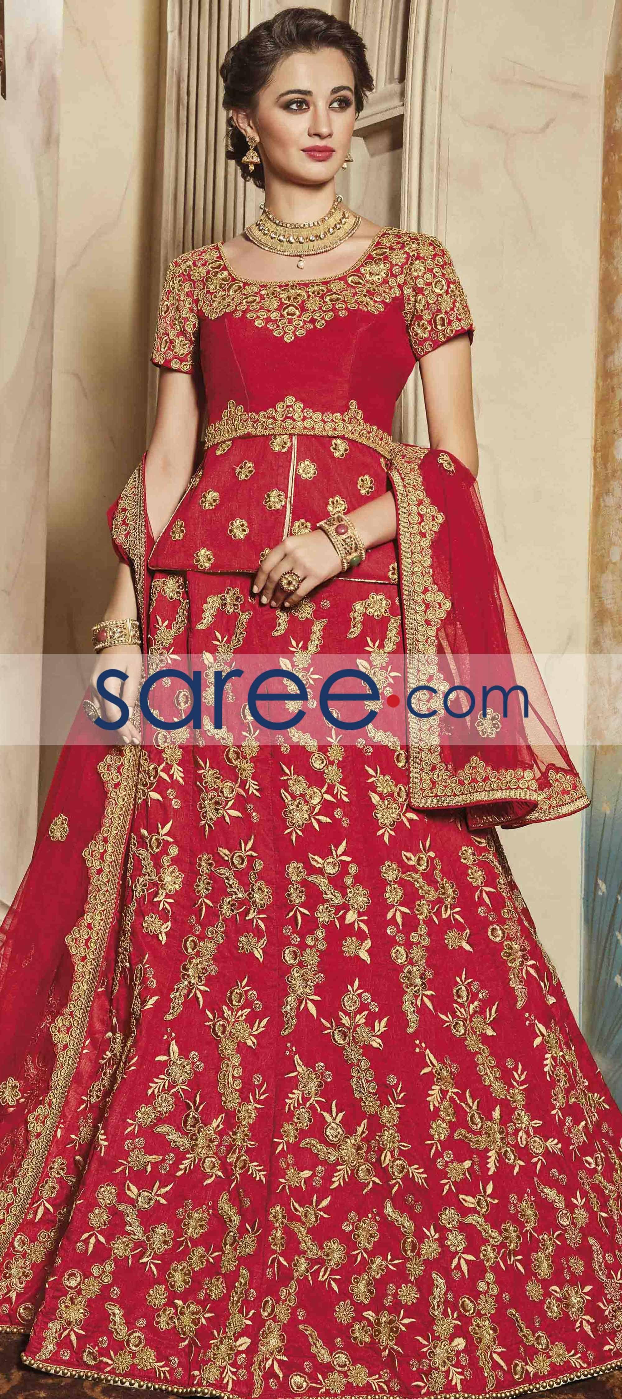 Red art silk lehenga choli with zari embroidery work lehenga choli