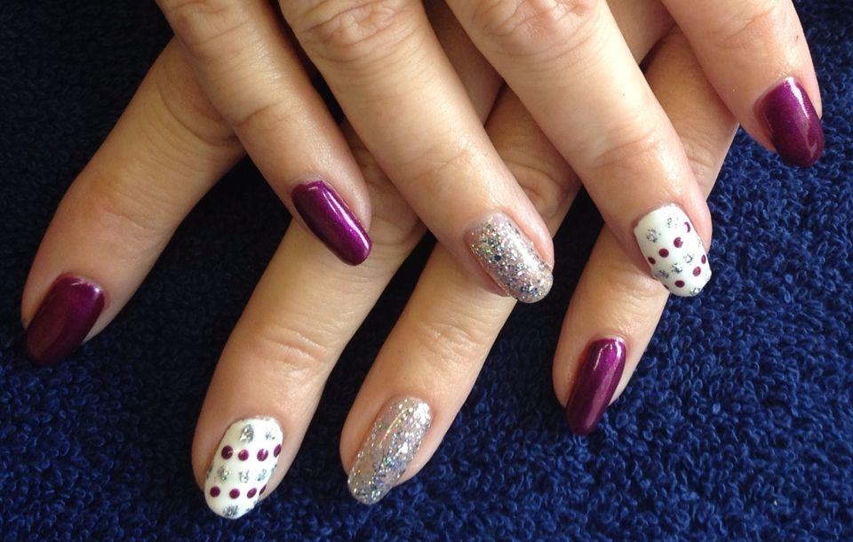 Purple, sparkly, dotty nails by Sammy