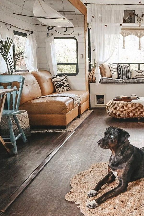 See how a couple transformed their outdated RV into a boho surf shack!