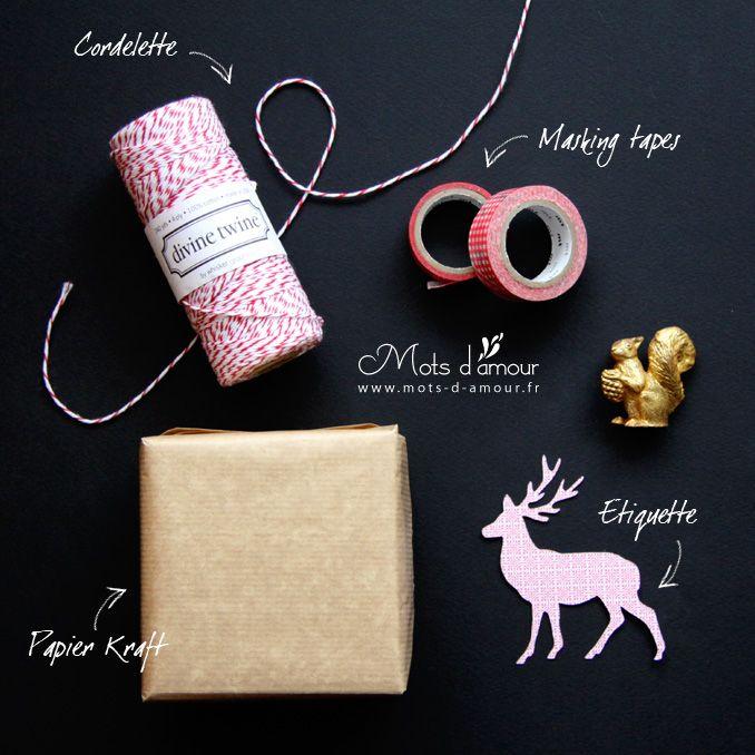 diy un emballage cadeau rouge et kraft mes cr ations. Black Bedroom Furniture Sets. Home Design Ideas
