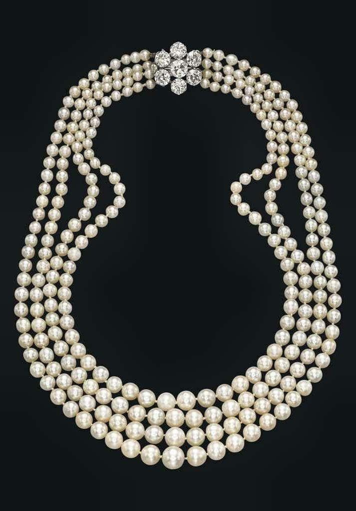 A FOUR-STRAND NATURAL PEARL, CULTURED PEARL AND DIAMOND NECKLACE, Composed  of seventy-four, seventy-one, sixty-nine and sixty-seven natural … 9f355eba5171