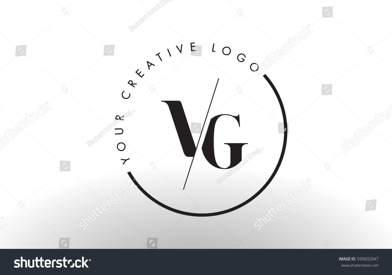 Vg Letter Logo Design With Creative Intersected And Cutted Serif Font Letter Logo Design G Logo Design Logo Fonts