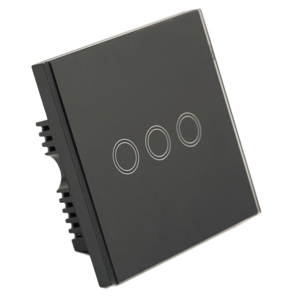 ICOCO Smart Home Black Crystal Glass Panel 2 Circuit UK Plug Light 2 ...