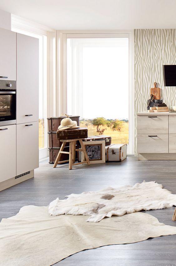 Dekoration und Tierfell teppiche in der Safari Küche Safari - teppiche für die küche