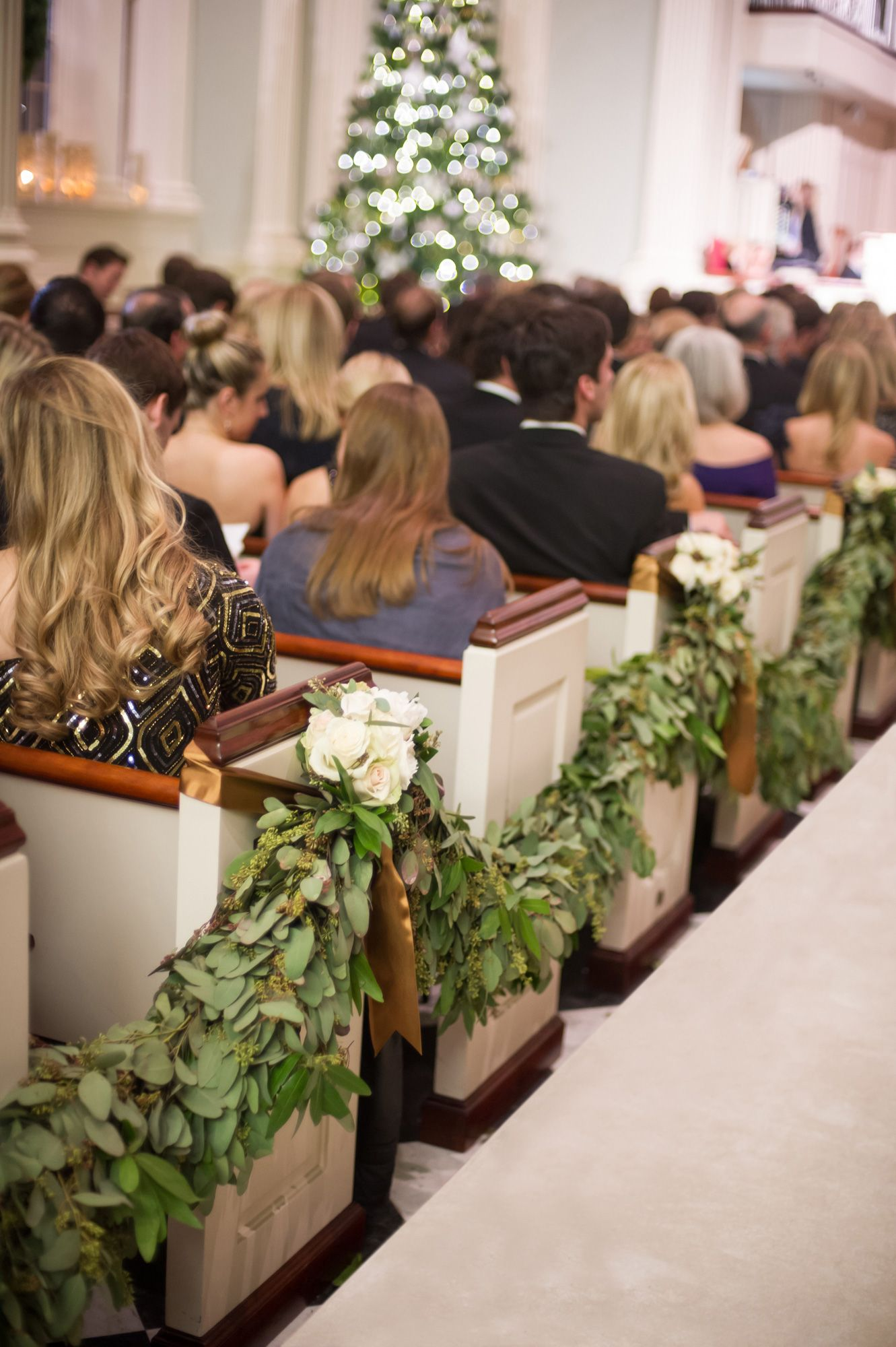 Green Garlands With White Roses On Church Pews Wedding Church Aisle