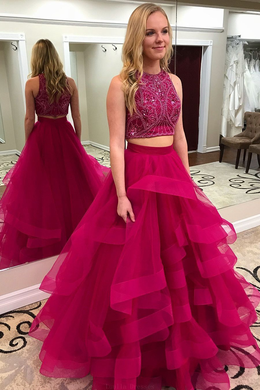 Comely prom dresses two piece handmade two piece beaded fuchsia long