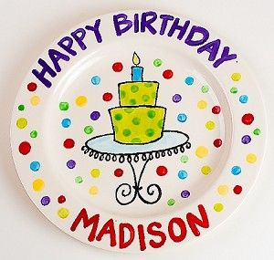 Personalized Happy Birthday Plate  sc 1 st  Pinterest & Personalized Happy Birthday Plate | Paint Your own plate | Pinterest ...