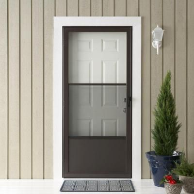 Emco 75 Series 32 In Bronze Aluminum Self Storing Storm Door With