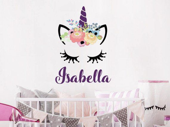 Wall Decal Girls Personalized Name Unicorn Colorful Head ...