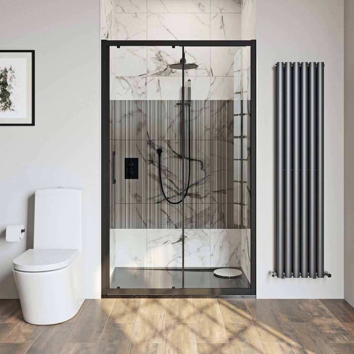 Click Here To Find Out More About The Mode 8mm Matt Black Framed Shower Door With Modesty Panel 1200mm Framed Shower Door Shower Doors Framed Shower