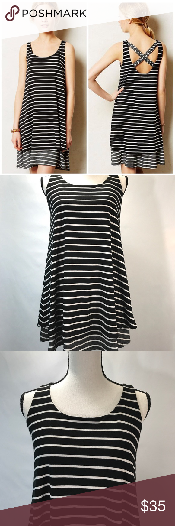 e96303be1713 Anthropology Puella dress striped xs petite Antropologie Puella Dress size  xsp black, white, and gray stripe stretchy, layered shift style dress cross  back ...