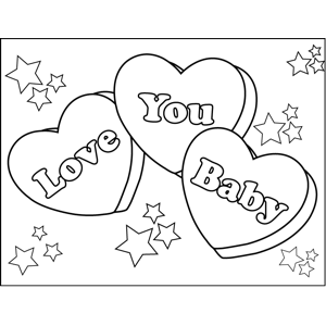 Love You Baby Candy Hearts Printable Coloring Page Free To