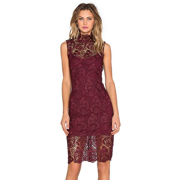 BLAQUE LABEL High Neck Lace Dress (£130) ❤ liked on Polyvore featuring dresses, red lace cocktail dress, high neck cocktail dress, lace dress, lacy red dress and blaque label