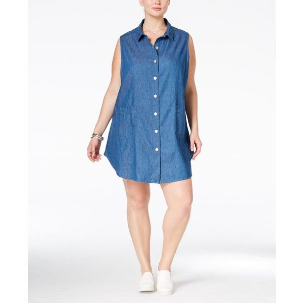 dbf46b9828a Stoosh Plus Size Chambray Shirtdress ( 34) ❤ liked on Polyvore featuring  plus size women s