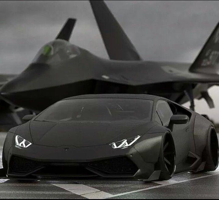 Lamborghini Huracan And F 22 Raptor Jet Fighters Guns