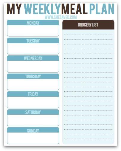 FREE Weekly Meal Planning Printable!