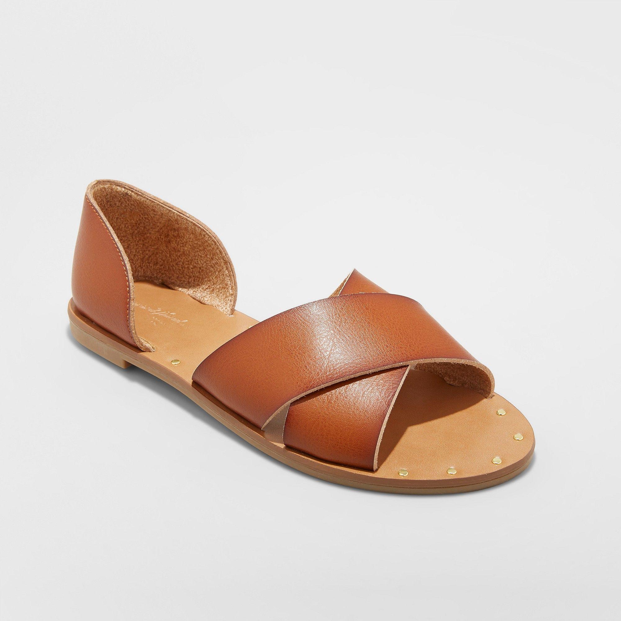 f13d8fd4117 Women s Lois Wide Width Crossband Sandals - Universal Thread Cognac (Red)  8.5W